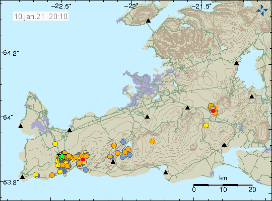 Green star north of Grindavík town. Groups of small earthquakes north and east of Grindavík town on the map little from the coastline. Earthqukake activity in Krýsuvík lake and in Hengill volcano.