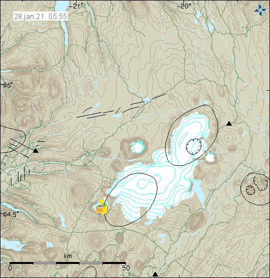 Yellow earthquake on the south-west side of the volcano. In the former glacier Ok.