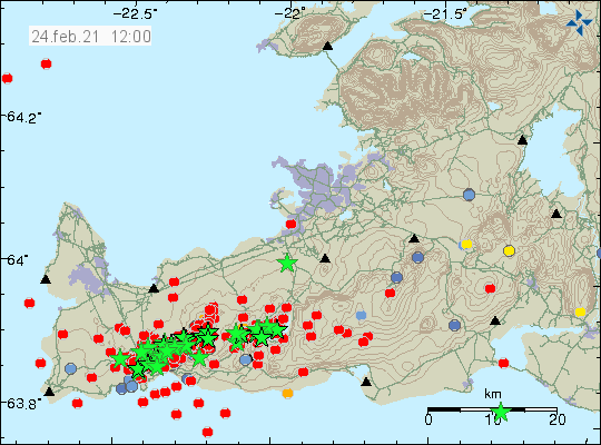 A lot of green starts showing earthquakes on Reykjanes peninsula