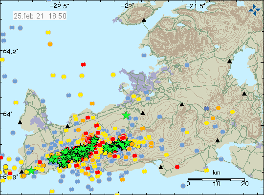 Green stars show all the earthquakes with magnitudes above Mw3,0 from yesterday (24-February-2021). A lot of red, yellow and orange dots showing smaller earthquakes