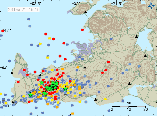Green stars on the Reykjanes peninsula from south-west to north-east. A lot of new earthquake activity shown by red dots on the map.
