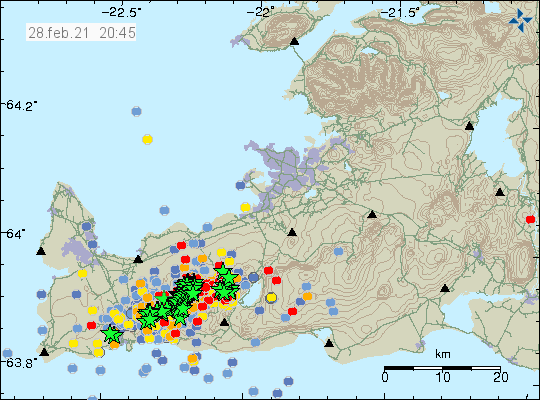 A lot of earthquakes close to south-west end of Reykjanes peninsula also a lot of red dots on the map showing fresh earthquake activity that has been taking place in the last hour.