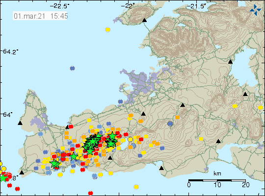 Dense pattern of earthquakes on the Reykjanes peninsula. Green stars and a lot of red dots.
