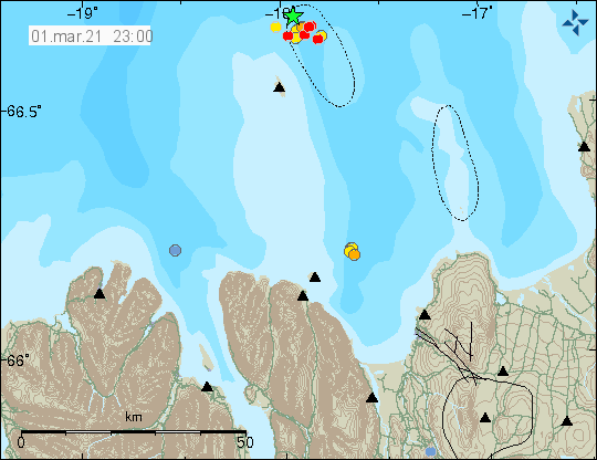Green star and yellow and red dots north-east of Grímsey island
