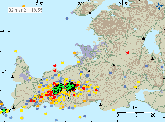 Green stars show the location of the earthquake activity in Krýsuvík volcano on Reykjanes peninsula. They are located on a small narrow band in almost south-west and north-east location and there is one cluster of earthquakes close to Trölladyngja tuff mountain