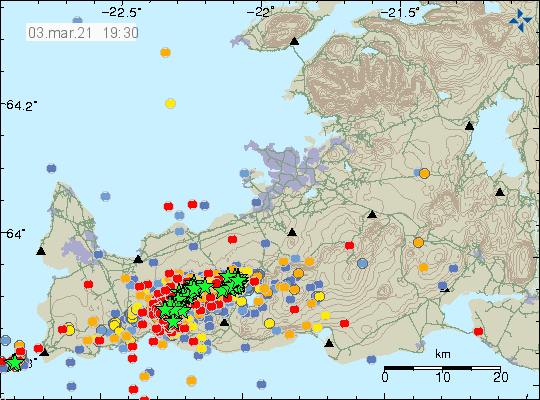 Earthquake activity in Krýsuvík volcano. A lot of green stars and red dots showing new earthquakes.