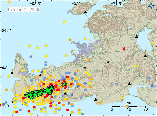 Heavy earthquake activity on Reykjanes peninsula. Total of 68 green stars on the map and over 2600 other earthquakes of smaller magnitude are shown on the map at different age