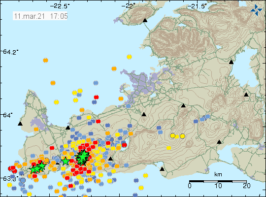 Dense earthquake activity on Reykjanes peninsula in the volcano Fagradalsfjall. Three green stars west of Grindavík town and a lot of red dots showing new earthquake activity.
