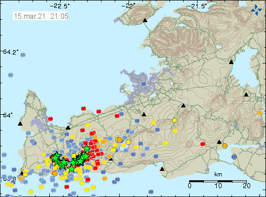 A lot of red dots on Reykjanes peninsula showing the earthquake activity in Fagradalsfjall mountain area where the eruption is going to happen. Few green stars showing the largest earthquakes on the map.
