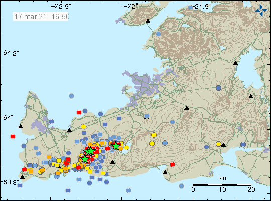Earthquake activity shows but less then in last few days. Most of the red dots are located between mountain Keilir and Fagradalsfjall mountain after change in earthquake after the weekend
