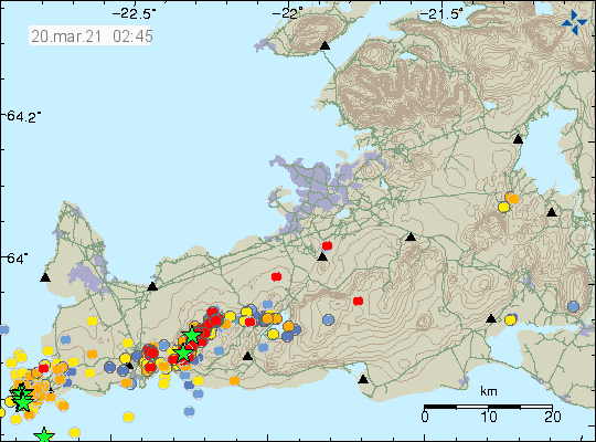 The earthquake activity in the dyke between Fagradalsfjalls and Keili. Mostly just minor eartquakes show by red dots