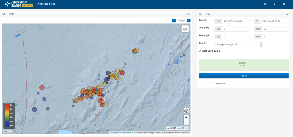 Earthquake activity in the volcano Fagradalsfjall. Dots on a generated map my a program called Skjálfta-Lísa shows the most recent earthquake activity from midnight until 16:18