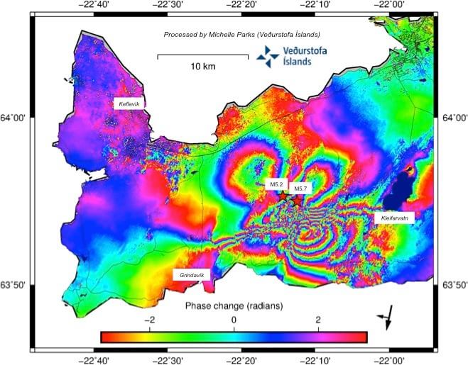Rainbow map showing the displacement. Largest dispacement is more than 30cm currently