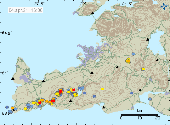 Few dots on Reykjanes peninsula that shows the earthquake activity during the last 48 hours