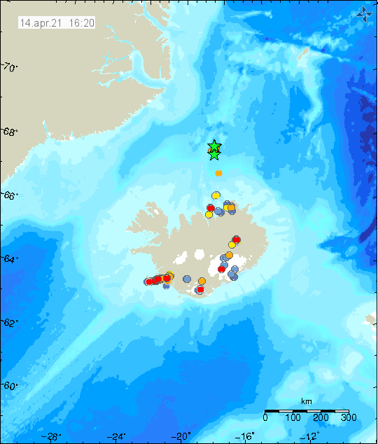 Green stars far north of Iceland that show the loaction of the earthquake swarm out in the ocean