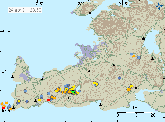 Earthquake activity close to Kleifarvatn lake east of the eruption in Fagradalsfjall mountain