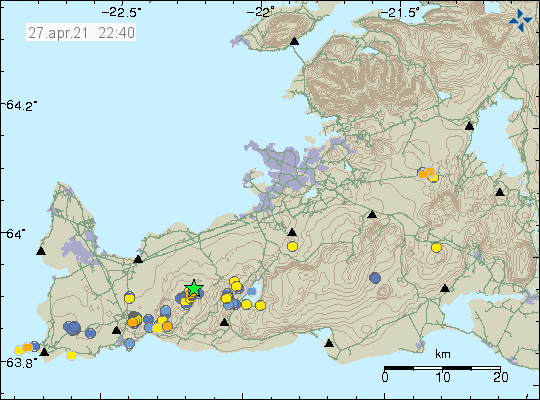 Earthquake activity south of Keilir mountain shown by a green star on the map of Reykjanes peninusla
