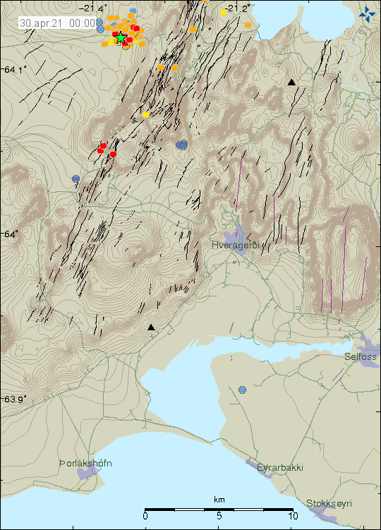 Far left on image is a green star that shows the earthquake activity in Hengill volcano