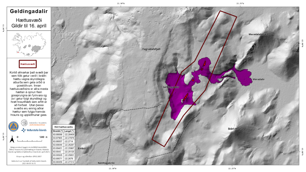 Map showing marked area that goes little south and north of the current erupting fissures in Fagradalsfjall. That area has been marked as dangerous by Icelandic Met Office. The map also shows the lava fields in purple.