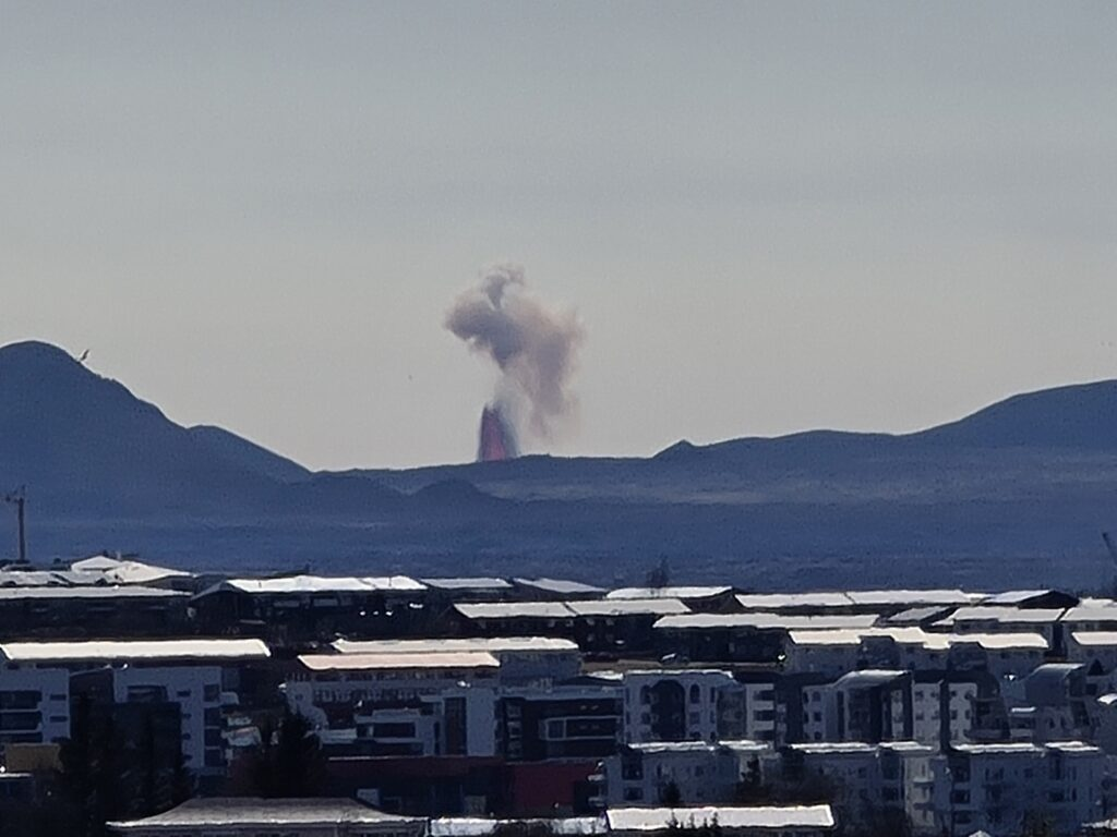 Lava fountain from the eruption in Fagradalsfjall mountain on 7th May 2021