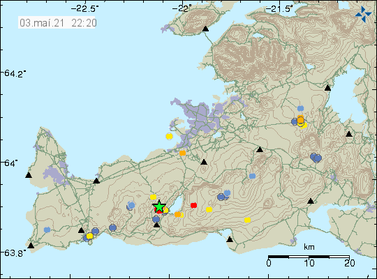 Earthquake swarm in Krýsuvík volcano shown by two green stars on top of each other