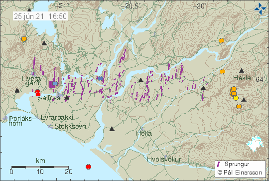 Earthquake activity in western part of Hekla volcano. Shown by few orange dots on this image.