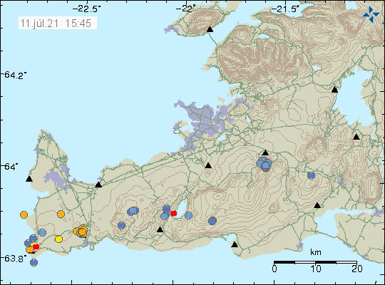 Earthquake activity north of Grindavík town show as cluster of small orange dots on Icelandic Met Office image.