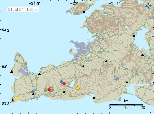 Earthquake activity in Fagradalsfjalli mountain shown by a red dot, orange dots and few blue dots on Reykjanes peninsula.