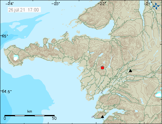 Red dot on western Iceland shows the earthquake activity in Ljósufjöll volcano.