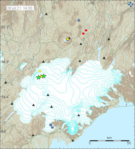 Earthquake activity in Bárðarbunga voclano shown by two green stars. One little to the west and the second one to the east in the rim of the main caldera.