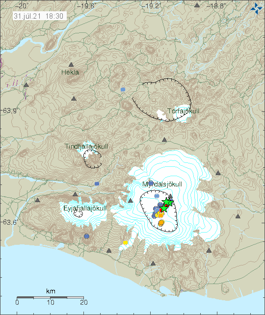 Earthquake activity in Katla volcano at 18:50 UTC this image shows three green stars, two of the stars are earthquakes from 29-July activity. New green star is from the earthquake today (31-July)