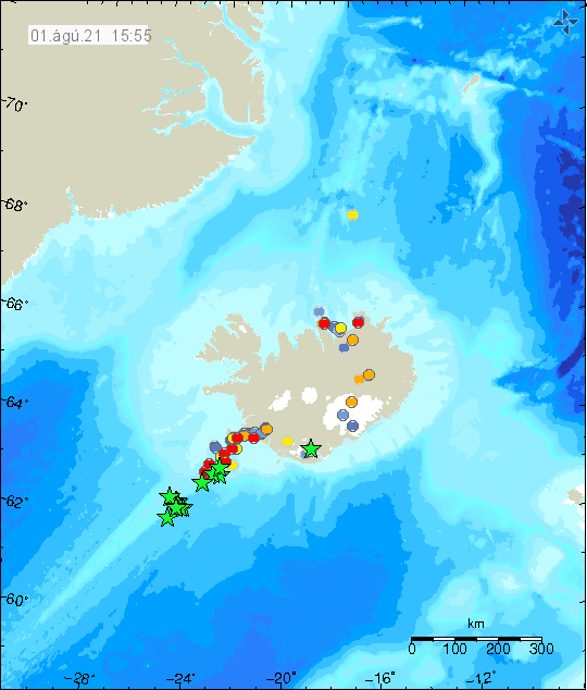 Earthquake activity deep on the Reykjanes ridge. Many green stars are on the map that goes south along the Reykjanes ridge