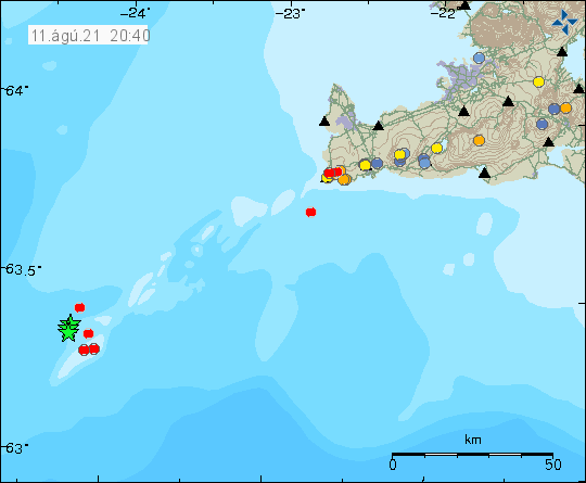 Few green stars in the far left corner of the Reykjanes ridge along with few red dots. Image is from 11-August-2021