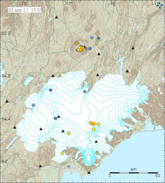 Few dots in Vatnajökull galcier close to its border. Showing the earthquake activity in Esjufjöll volcano.
