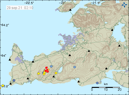 Red dots on Reykjanes peninsula show the location of an ongoing earthquake swarm that is now happening.