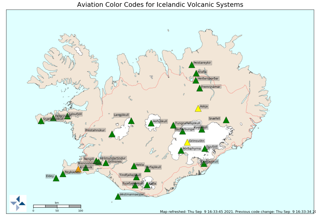 Green triangles shows most of the volcanoes in Iceland as green. Only Askja and Grímsfjall are yellow. Krýsuvík volcano is orange in colour.