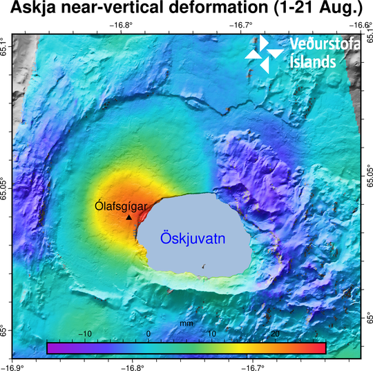 Inflation map of Askja volcano. Triangle in the centre of Askja volcano caldera show the location of the inflation in red to blue colour.