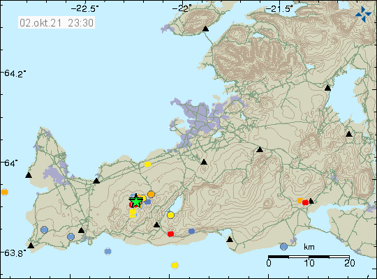Green stars on Reykjanes peninsula close to the mountain Keilir. Shows where the current activity is.