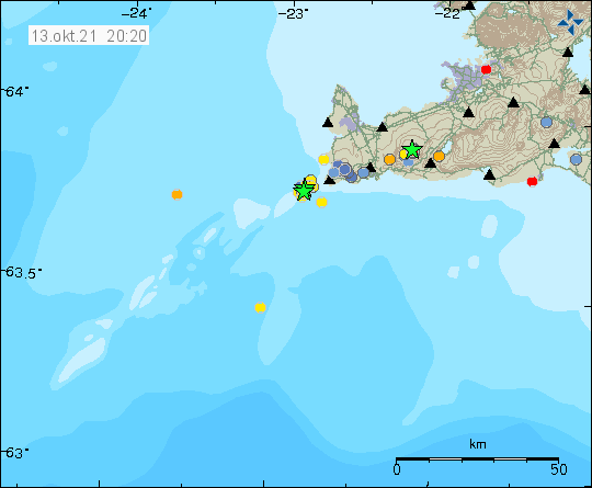 Two green stars out in the ocean shows the location of the earthquake swarm that was happening on Reykjanes ridge in the volcano of Reykjanes. Green star is also close to Keilir volcano that had an activity yesterday also.