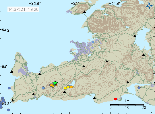 Earthquake activity close to mountain Keilir marked by a green star close to it of the map on Reykjanes peninsula